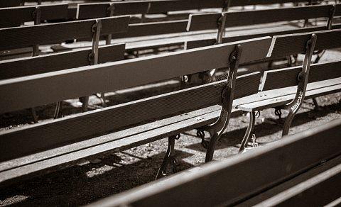 Empty park benches